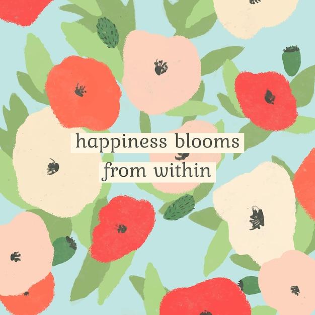Bewerkbare inspirerende offertesjabloon met poppy handgetekende achtergrond