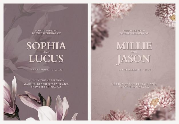 Bewerkbare kaartsjablonen bloemenhuwelijksuitnodiging