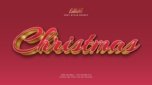 Bewerkbare kersttekst in luxe rode en gouden stijl met 3d-effect. bewerkbaar tekststijleffect