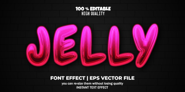 Bewerkbare lettertype-effect gelei-tekststijl