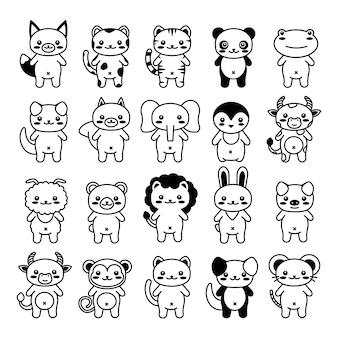 Bewerkbare lijn, slag. hand getekende vector illustratie karakter. schattig huisdier. doodle cartoon stijl. grappige baby kinder print. overzichts symbool. geïsoleerde vectorillustratie. kawaii dier.