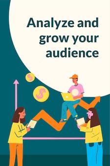 Bewerkbare marketingplansjabloonvector in plat ontwerp voor doelgroepanalyse