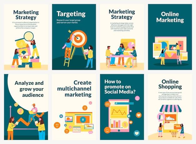 Bewerkbare marketingsjabloon voor startende bedrijven in platte set