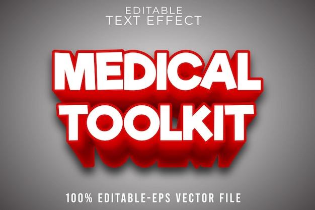 Bewerkbare medische toolkit met teksteffect met moderne eenvoudige stijl
