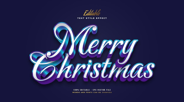 Bewerkbare merry christmas-tekst in elegante witte en blauwe stijl met glanzend effect. bewerkbaar tekststijleffect