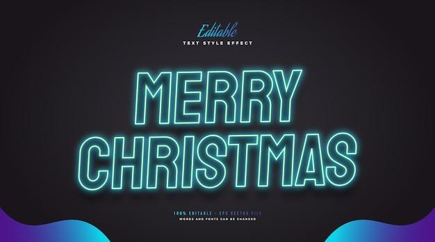 Bewerkbare merry christmas-tekst in gloeiend blauw neoneffect. bewerkbaar tekststijleffect
