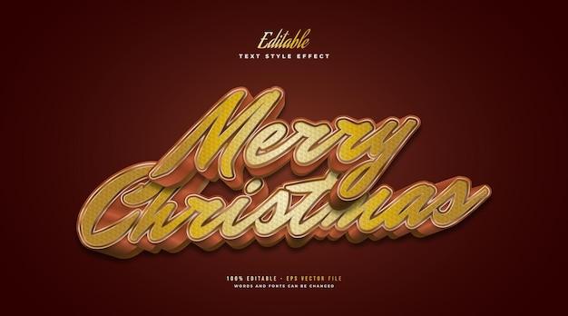 Bewerkbare merry christmas-tekst in luxe gouden stijl en 3d- en getextureerd effect. bewerkbaar tekststijleffect