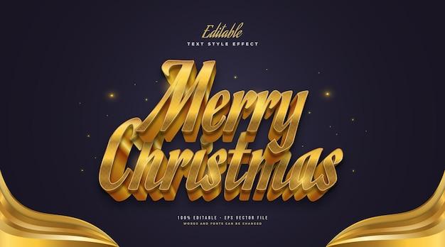 Bewerkbare merry christmas-tekst in luxe gouden stijl met 3d-effect. bewerkbaar tekststijleffect