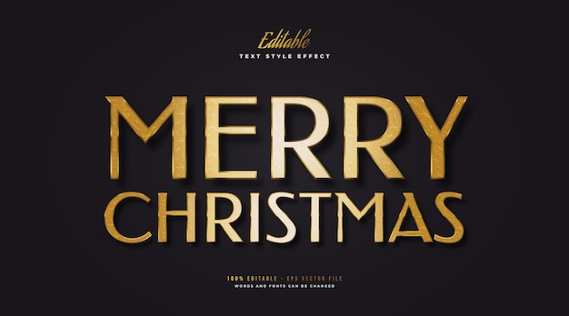 Bewerkbare merry christmas-tekst in luxe gouden stijl met reliëfeffect. bewerkbaar tekststijleffect