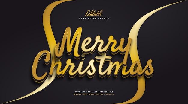 Bewerkbare merry christmas-tekst in luxe zwarte en gouden stijl. bewerkbaar tekststijleffect