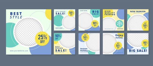 Bewerkbare minimale vierkante sjabloon voor spandoek. geschikt voor posts op sociale media en webadvertenties. blauw
