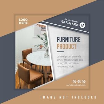 Bewerkbare moderne minimale vierkante meubels sjabloon voor spandoek