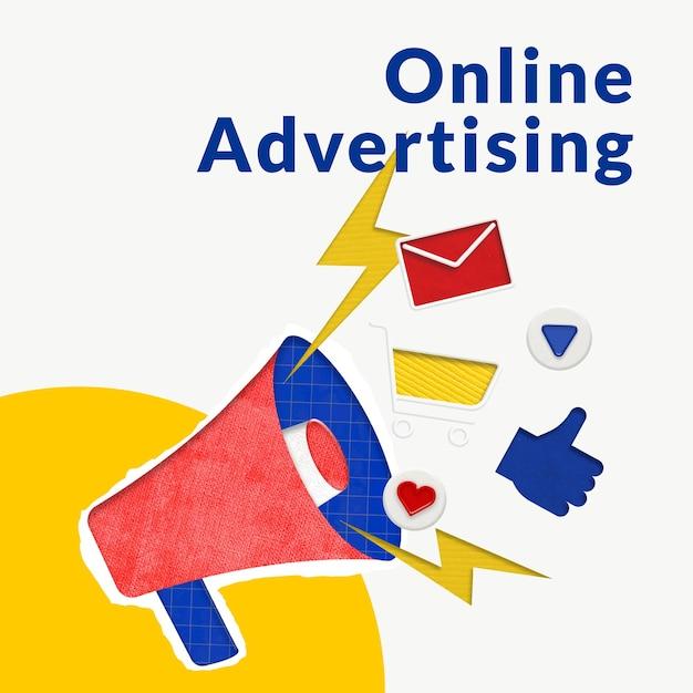Bewerkbare online advertentiesjabloon met megafoon voor e-commercebedrijven