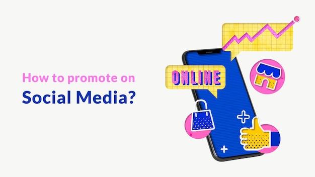 Bewerkbare online advertentiesjabloon met mobiele telefoon voor e-commercebedrijven