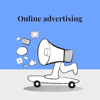 Bewerkbare online advertentiesjabloon vector met megafoon op blauwe banner