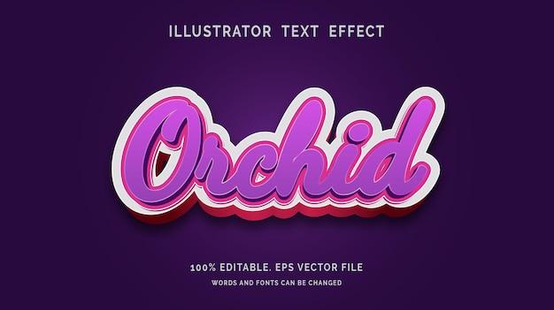 Bewerkbare orchidee teksteffect stijl vector