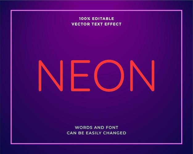 Bewerkbare paarse neonlicht teksteffect banner sjabloon illustratie