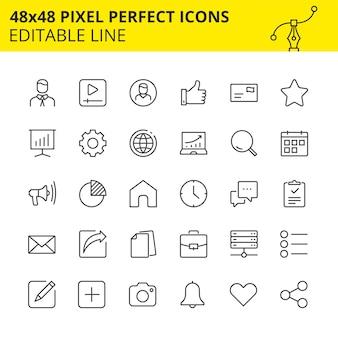 Bewerkbare pictogrammen voor mobiele applicaties, websites en andere platforms