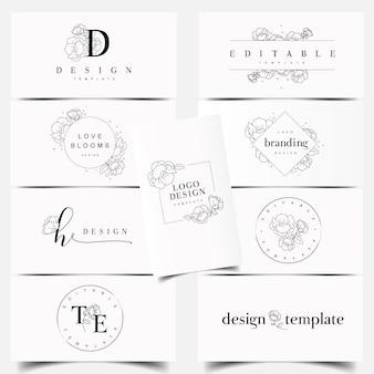 Bewerkbare pioenroos bloem logo ontwerp