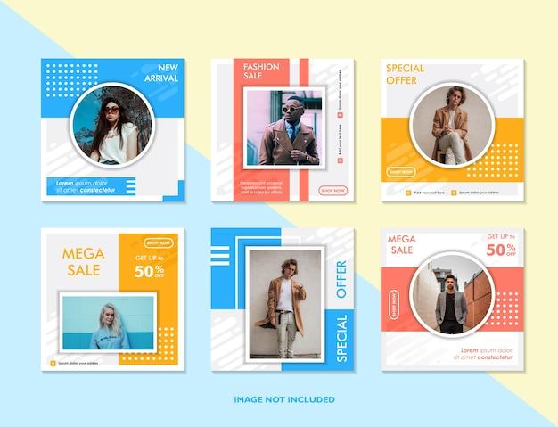 Bewerkbare postsjabloon social media banners voor digitale marketing promotie merkmode