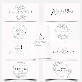 Bewerkbare rose logo-ontwerpen