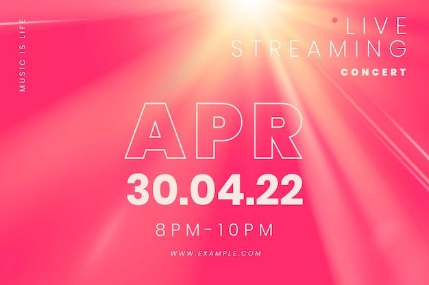 Bewerkbare roze bannersjabloonvector met lichteffect voor livestreamconcert in het nieuwe normaal
