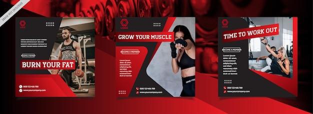Bewerkbare set vierkante bannersjabloon gym & fitness instagram sociale media postpromotiesjabloon
