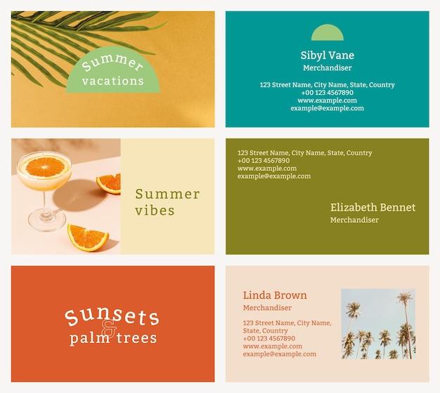 Bewerkbare sjablonen voor visitekaartjes zomer tropisch thema