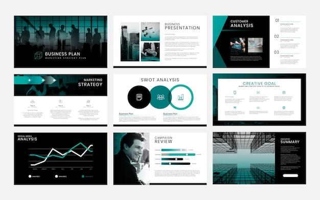 Bewerkbare sjablonen voor zakelijke marketingpresentaties