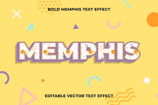 Bewerkbare sjabloon voor teksteffect in memphis