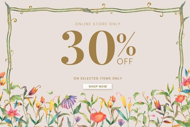 Bewerkbare sjabloon voor verkoopbanner met aquarelpauwen en bloemen op beige achtergrond met 30% korting