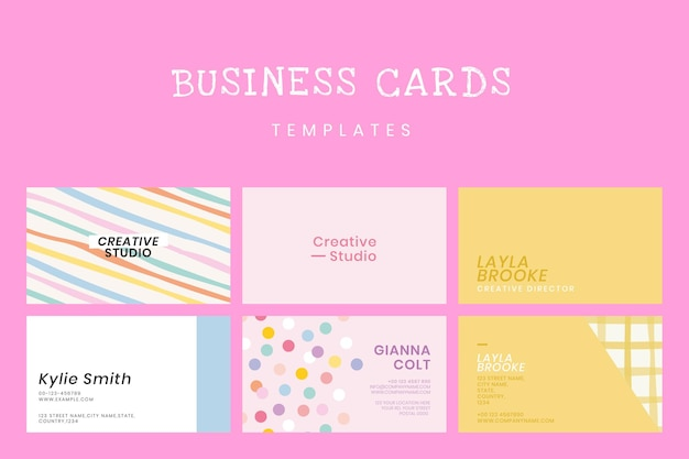 Bewerkbare sjabloon voor visitekaartjes in schattige pastelpatroonset