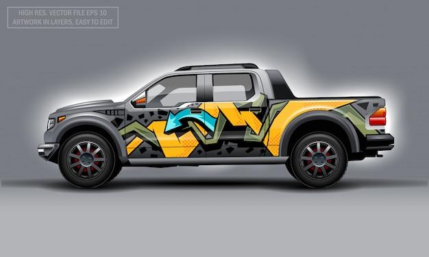 Bewerkbare sjabloon voor wrap suv met abstract graffiti-embleem.