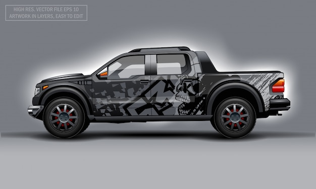 Bewerkbare sjabloon voor wrap suv met skull abstract decal.