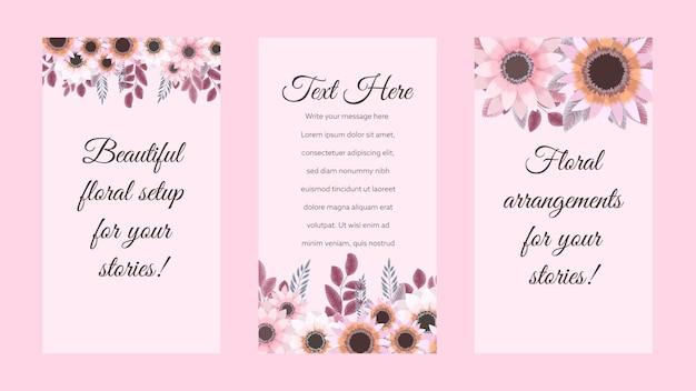 Bewerkbare sociale media instagram verhaal sjabloon ontwerp frame achtergrond in schattige roze bloemen