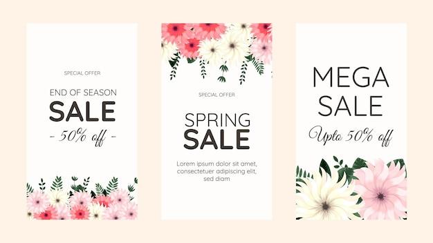 Bewerkbare sociale media instagram verhaal sjabloon ontwerp frame achtergrond in schattige zachte bloemen bloemen