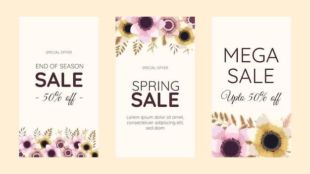 Bewerkbare sociale media instagram verhaal sjabloon ontwerp frame achtergrond in schattige zachte bloemen floral