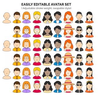 Bewerkbare teamwerk avatar set