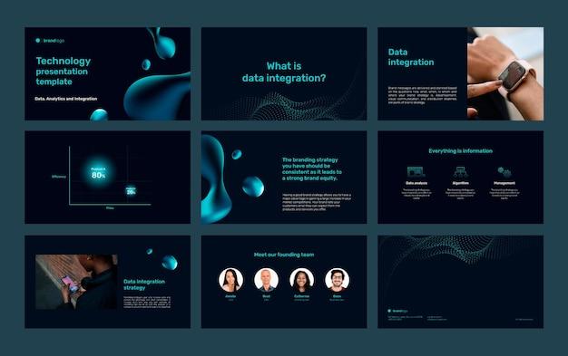 Bewerkbare technologie presentatiesjabloon set