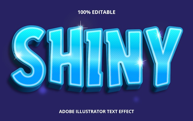 Bewerkbare tekst effect-blauw glanzende stijl