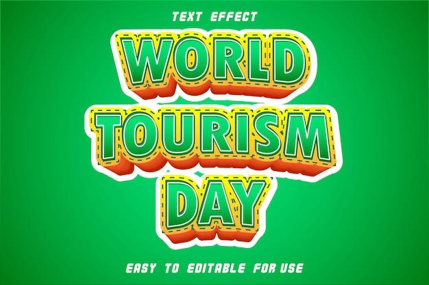 Bewerkbare tekst effect wereldtoerisme dag groen
