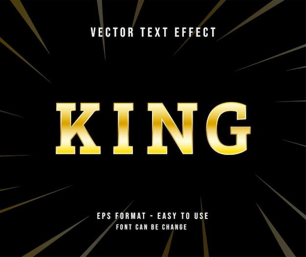 Bewerkbare tekst koning goud effect illustrator