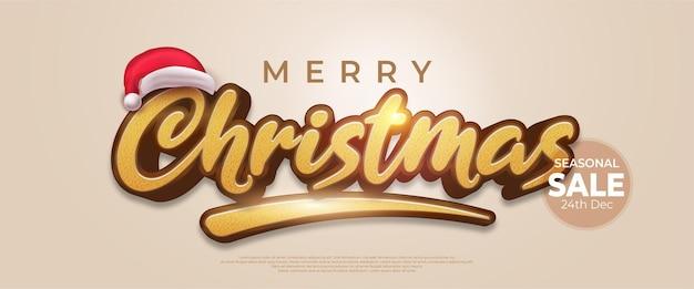 Bewerkbare tekst merry christmas-stijleffect geschikt voor de verkoop van kerstbanners