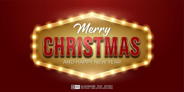 Bewerkbare tekst vrolijk kerst gouden luxe ontwerp geschikt voor kerstbanner