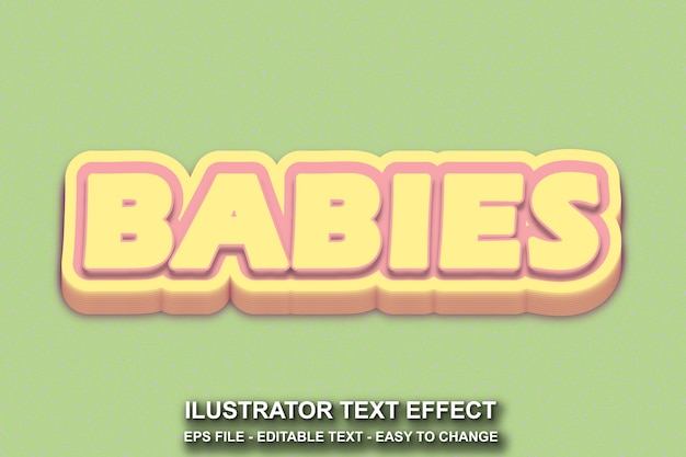 Bewerkbare teksteffect baby's stijl