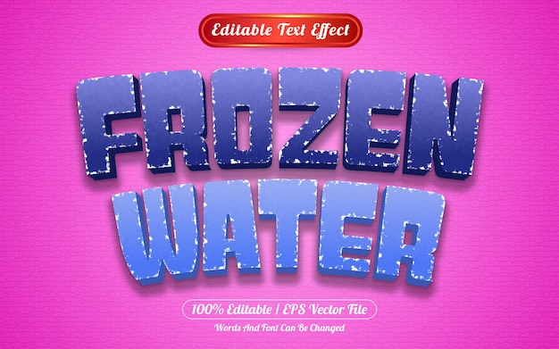 Bewerkbare teksteffect bevroren water sjabloonstijl