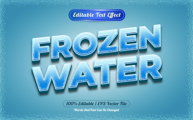 Bewerkbare teksteffect cartoon-stijl met bevroren water