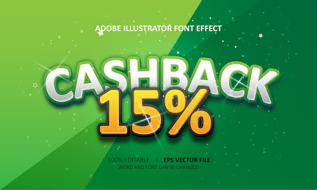 Bewerkbare teksteffect cashback-titel