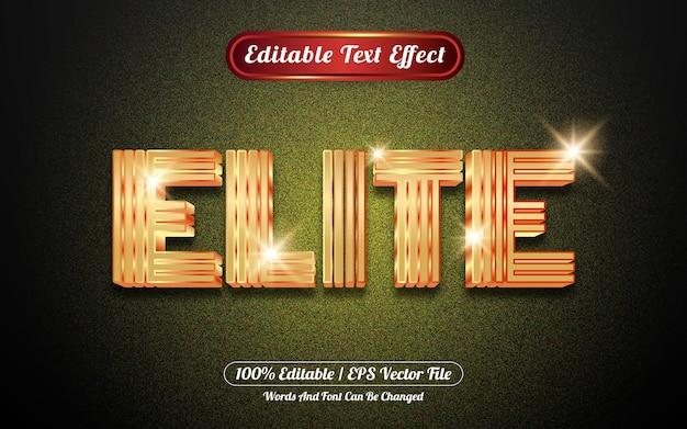 Bewerkbare teksteffect elite gouden sjabloonstijl