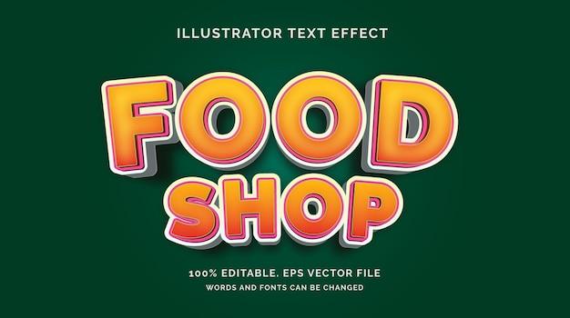 Bewerkbare teksteffect food shop-stijl